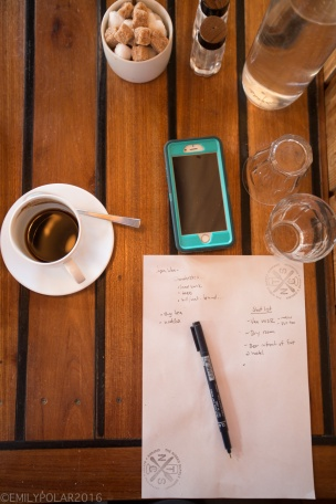Overhead shot of coffee, iphone, glass of water and notes at a coffee shop in Hirafu, Japan.