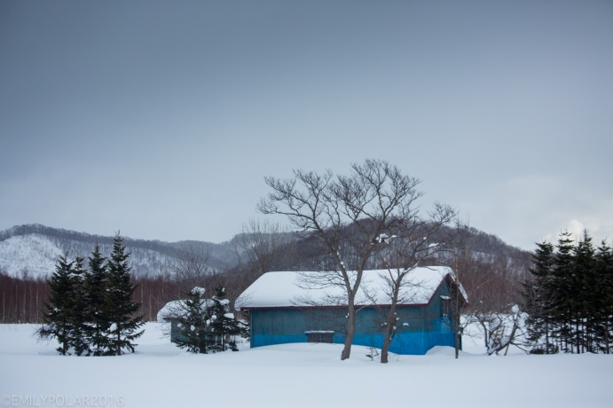 Cute wood cabin home in the countryside of Hokkaido, Japan.