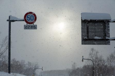 Dumping snow along the road in Niseko, Japan.