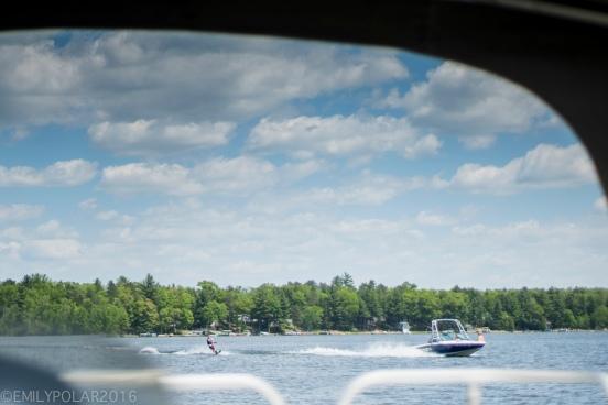Waterskier making waves on Moshawquit Lake in Wisconsin.