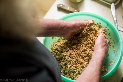 Man making granola mixing ingredients in a big green tupperware bowl in his kitchen.