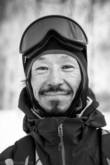 Portrait of Ken Miyashita snowboarders in Hokkaido, Japan.