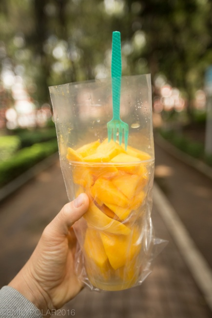 Cup of sliced mango from a street food vendor in Mexico City.