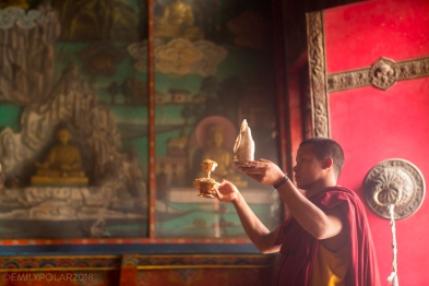 Puja performed by monks and lama at Shechen Monastery in Boudha, Nepal.