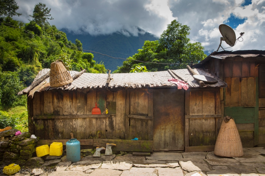 While trekking through the Annapurna region you can see a similar styles of homes. Though sometimes you come across little homes like this with all the charm including a cable dish on the tin roof.