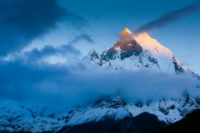 Machapuchare peak on the Annapurna range at sunset enveloped in clouds.