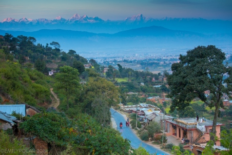 Kathmandu, a valley surrounded by terraced fields leading up to the highest mountains. Bumpy roads climb out of the valley in every direction making their way to the more rural areas. Areas where there were no roads only 10-20 years ago.