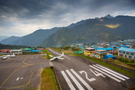 A small plane lands at Tenzing–Hillary Airport in Lukla, the gateway to the Everest region. A very popular yet dangerous airport due to the short runway and mountain terrain.