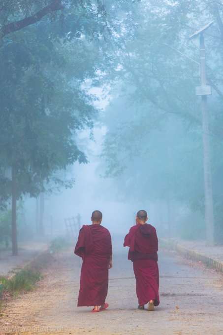 Buddhist nuns walking down a foggy path in the early morning from the Maya Devi Temple in Lumbini. An UNESCO site where Gautama Buddha was born.