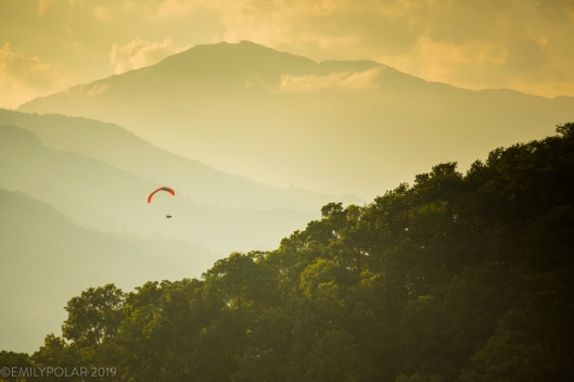 A paraglider makes his last turns circling in on an open field landing along the side of Phewa lake in Pokhara, Nepal.