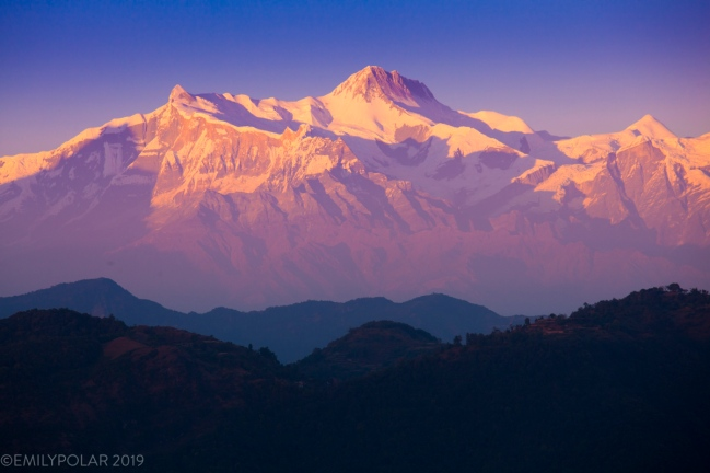 The southern Annapurna range seen from the popular sunrise spot of Sirkot west of Pokhara.