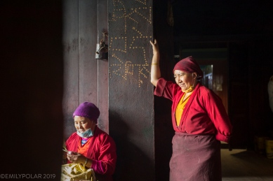 One of the head cooks takes a quick break at Thubten Choling monastery in the rural Khumbu, Nepal.